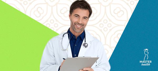 figura de um médico indicando que deve haver uma avaliação antes da redução de mamas